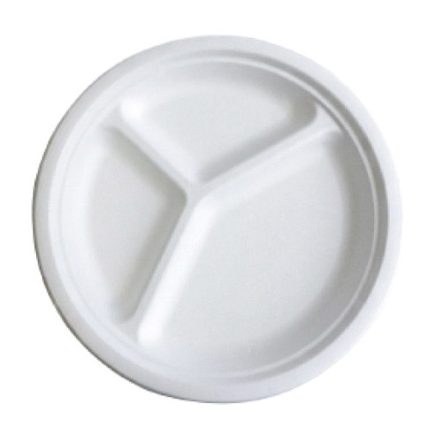 "BetterEarth Sugarcane White Round Plate 3 Compartment - 9"" - BE-FRP9-3"