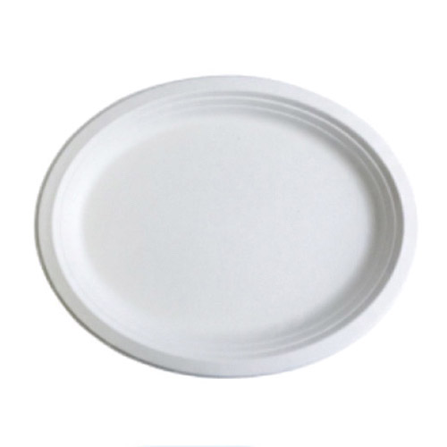 "BetterEarth Sugarcane White Oval Platter - 12.5"" x 10"" - BE-FOP1210"