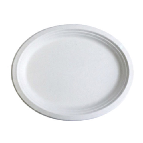 "BetterEarth Sugarcane White Oval Platter - 10"" x 8"" - BE-FOP108"