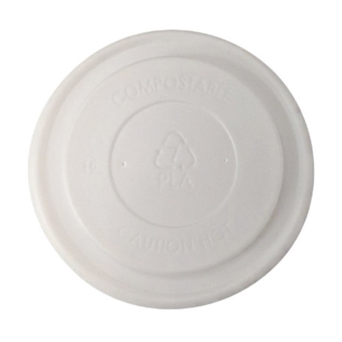 BetterEarth CPLA White Flat Lid for Food Container - 8 oz - BE-FL90CPLA