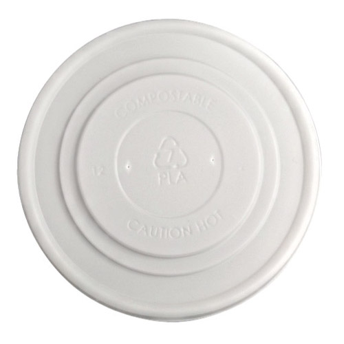 BetterEarth CPLA White Flat Lid for Food Container - 12-32 oz - BE-FL115CPLA