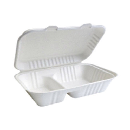 "BetterEarth Sugarcane White Clamshell Hinged Hoagie Container 2 Compartment - 9"" x 6"" - BE-FC96-2"