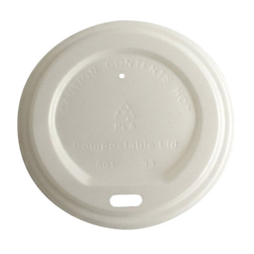 BetterEarth CPLA White Flat Lid for Hot Cup - 8 oz - BE-HL8PLA