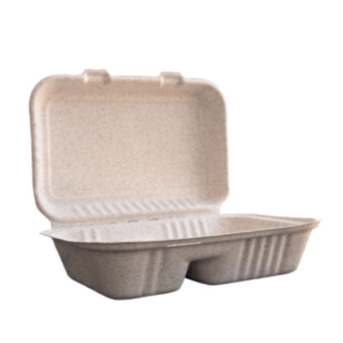 """BetterEarth Fiber Blend Clamshell Hinged Container 2 Compartment - 9"""" x 6"""" - BE-EC96-2"""