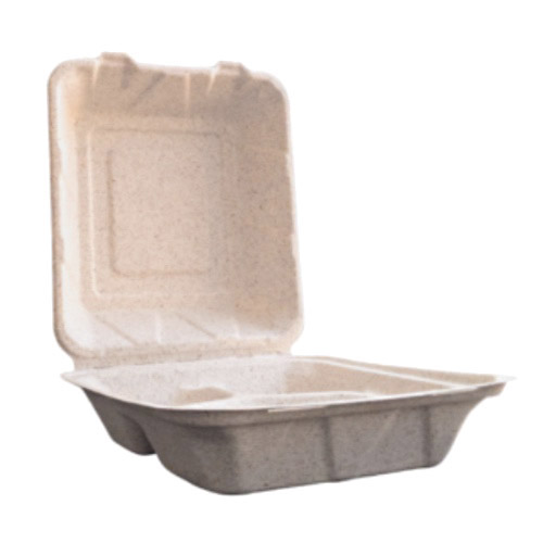 "BetterEarth Fiber Blend Clamshell Hinged Container 3 Compartment - 8"" x 8"" - BE-EC88-3"