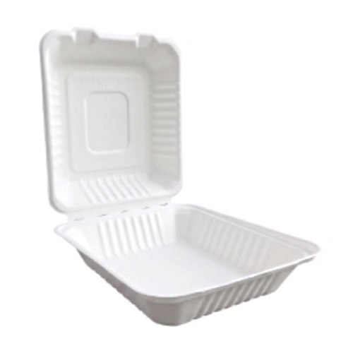 "BetterEarth Sugarcane White Clamshell Hinged Container - 8"" x 8"" - BE-FC88"