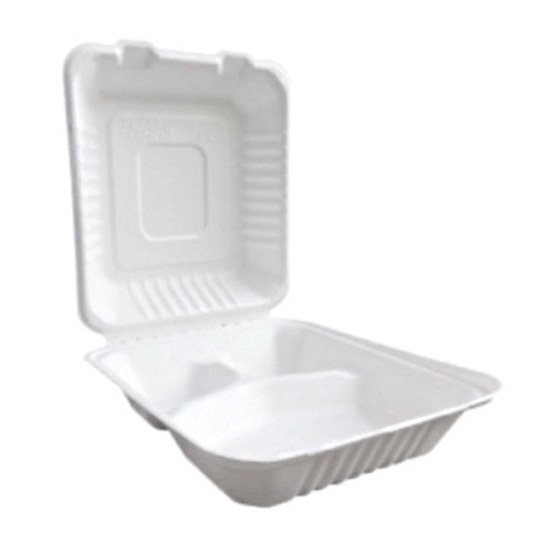 "BetterEarth Sugarcane White Clamshell Hinged Container 3 Compartment - 8"" x 8"" - BE-FC88-3"