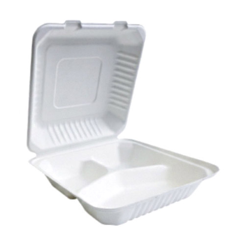 "BetterEarth Sugarcane White Clamshell Hinged Container 3 Compartment - 9"" x 9"" - BE-FC99-3"