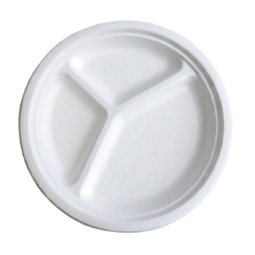 "BetterEarth Sugarcane White Round Plate 3 Compartment - 10"" - BE-FRP10-3"