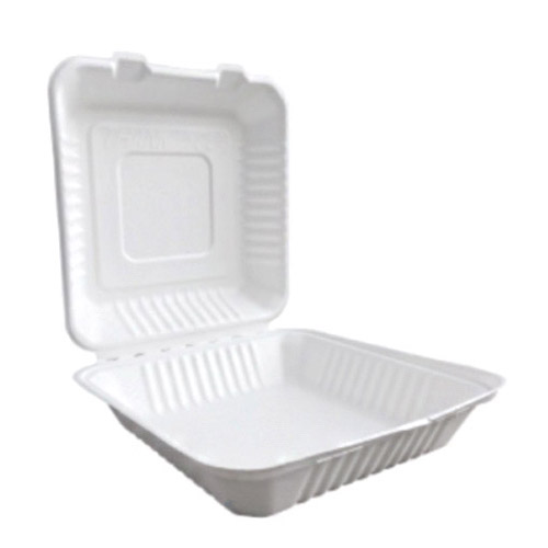 "BetterEarth Sugarcane White Clamshell Hinged Container - 9"" x 9"" - BE-FC99"