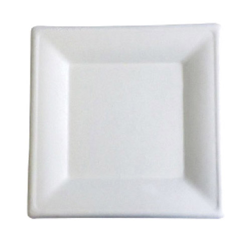 "BetterEarth Sugarcane White Square Plate - 10"" - BE-FSP10"