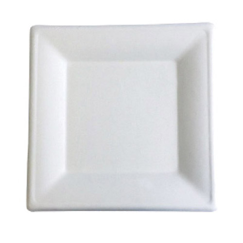 "BetterEarth Sugarcane White Square Plate - 8"" - BE-FSP8"