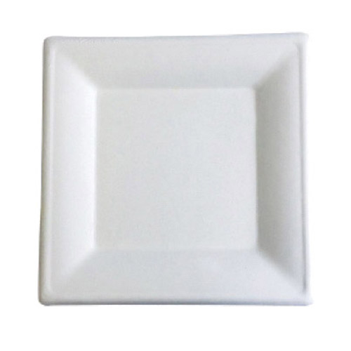 "BetterEarth Sugarcane White Square Plate - 6"" - BE-FSP6"