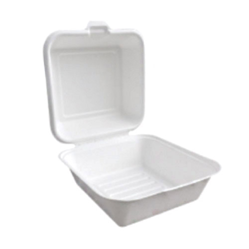 "BetterEarth Sugarcane White Clamshell Hinged Container - 6"" x 6"" - BE-FC66"