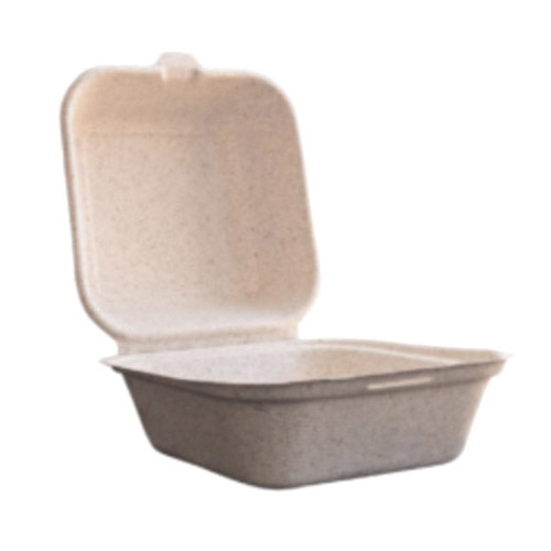 "BetterEarth Fiber Blend Clamshell Hinged Container - 6"" x 6"" - BE-EC66"