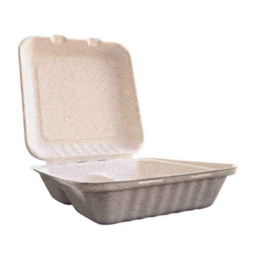 "BetterEarth Fiber Blend Clamshell Hinged Container 3 Compartment - 9"" x 9"" - BE-EC99-3"
