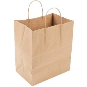 Pro-Pak Natural Kraft Paper Bag Twist Handle 70lb - 10 in x 6.75 in x 13.5 in - PB10714