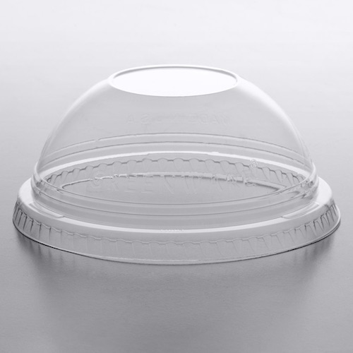 Fabri-Kal Greenware Compostable Clear Plastic No Hole Dome Lid – 9, 12, 20 oz. – DLGC12/20NH