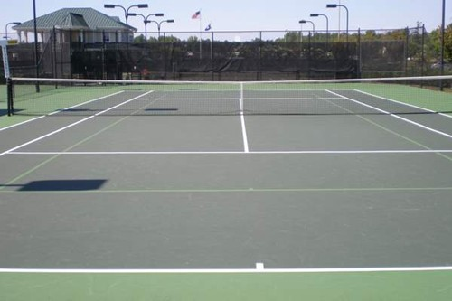 60' blended lines on a 78' tennis court using a light green on dark green color scheme.