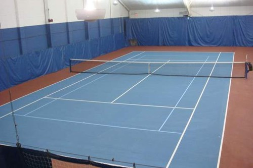 60' blended lines on a 78' indoor tennis court using a light blue on dark blue color scheme.