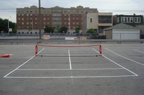 Two 36' tennis courts on a reclaimed urban parking lot.
