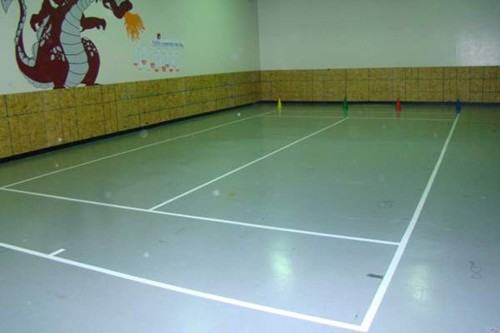 One indoor 36' tennis court on a multi-purpose gymnasium floor.