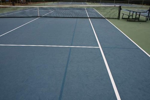 36' and 60' blended lines on a 78' tennis court using a dark blue on light blue color scheme.