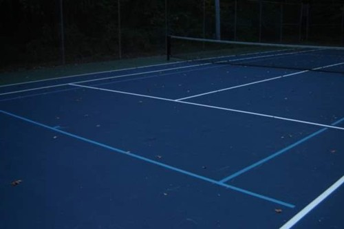 36' blended lines on a 78' tennis court using a light blue on dark blue color scheme.