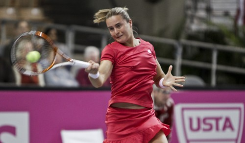 2012 Fed Cup USA vs. BelarusDarya Kustova in action during the 2012 Fed Cup tie break between the U