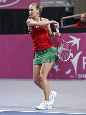 2012 Fed Cup USA vs. BelarusDarya Kustova in action during the 2012 Fed Cup tie break between the USA and Belarus