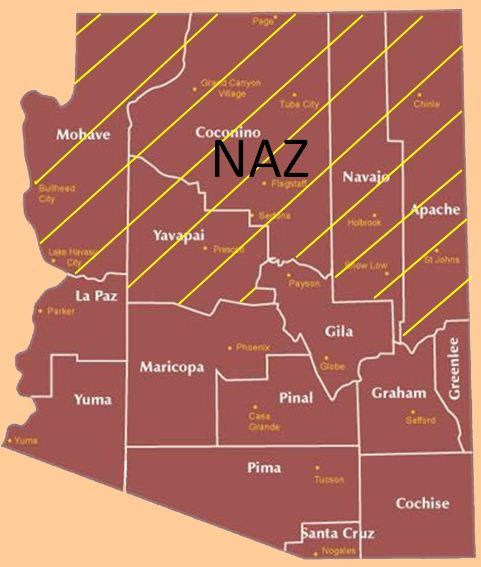 NAZ Area of Responsibility Map