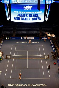 Mark Green jumbotron and on court