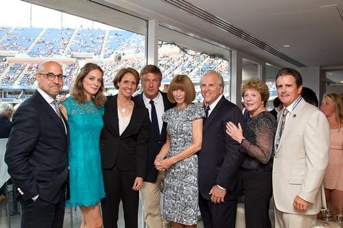 Stanley Tucci, Felicity Blunt, Mary Carillo, Alec Baldwin, Anna Wintour, USTA President Jon Vegosen,