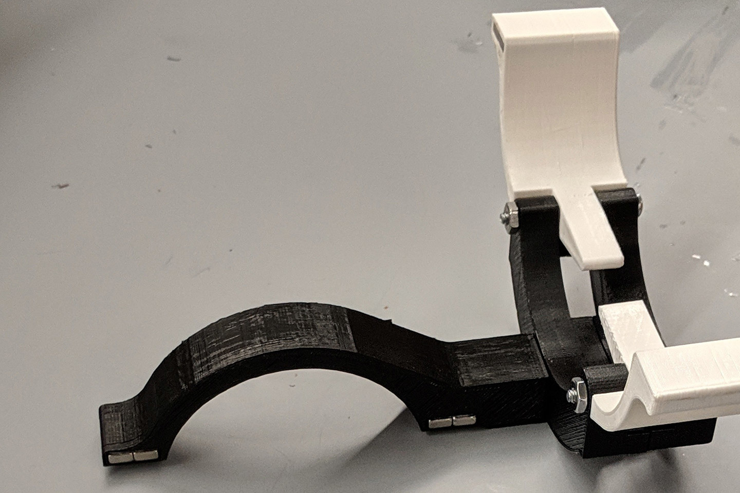A prototype of an orthotic wrist device to assist with hand tremors.