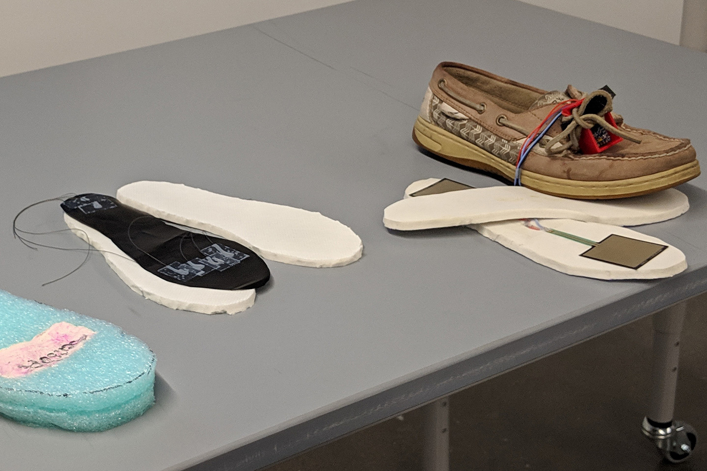A prototype shoe insole to help detect diabetic neuropathy.