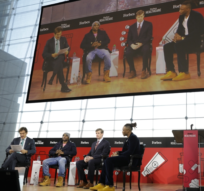 Charlamagne tha God​, Patrick Kennedy​, Brandon Marshall​ and Dr. Oz onstage at the 2019 Forbes Healthcare Summit.