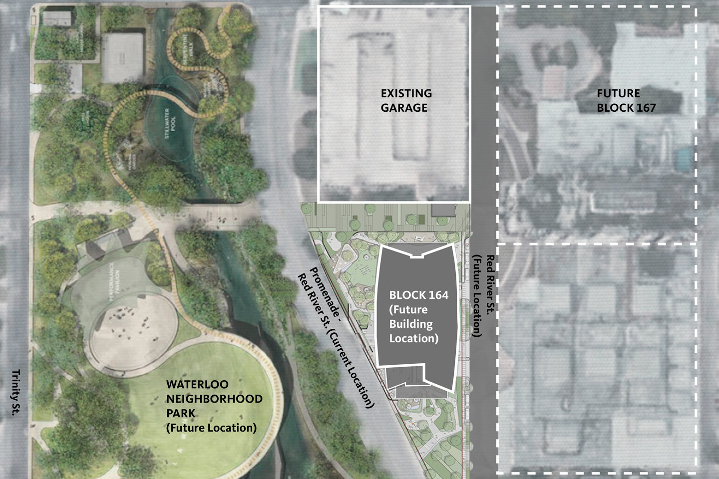 Map rendering of the forthcoming office building on a site near the former University Medical Center Brackenridge.