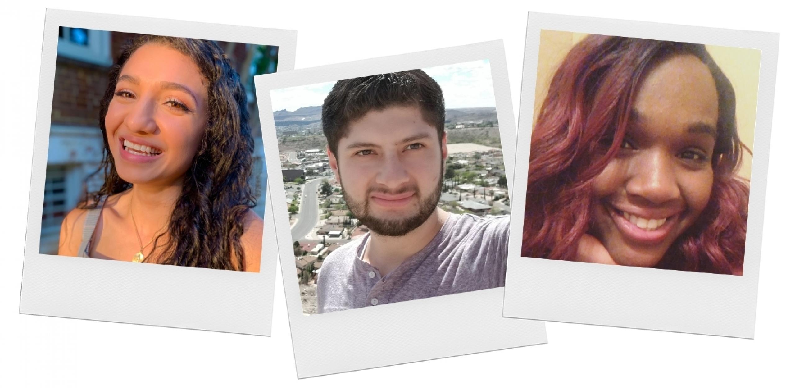 Headshots of incoming Dell Med students Alma Rivera, Jaime Morales and Munachimso Uzodike.