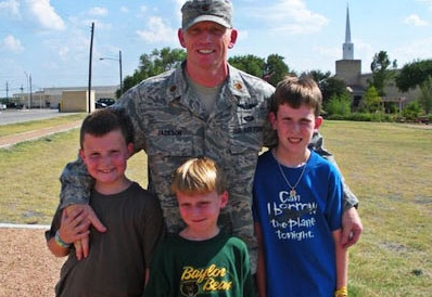 MJ Anderson and sons during deployment.