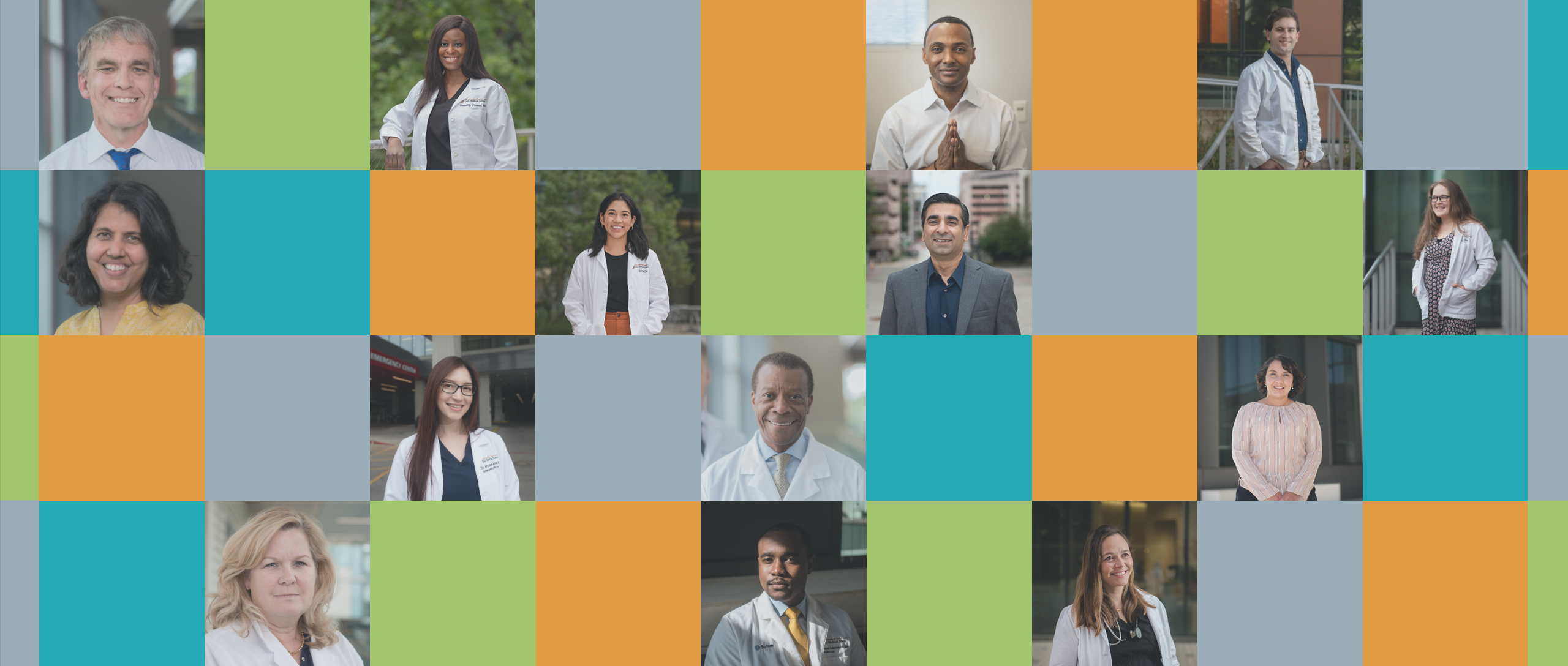 Collage of headshots of various Dell Med faculty, staff, students and residents.