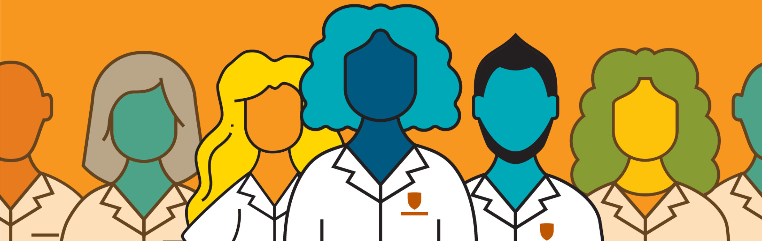 Seven physicians in a row. Illustration.