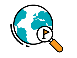 Illustration of a magnifying glass hovering over a spot on a globe.