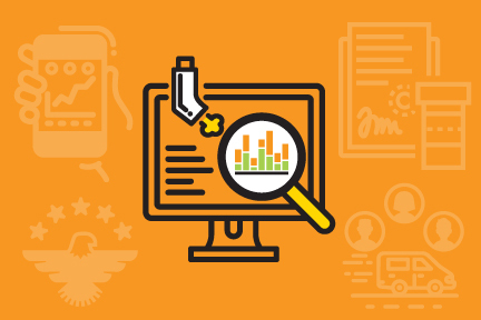 Computer screen with an inhaler and a magnifying glass. Illustration.
