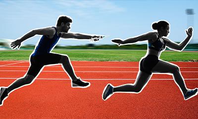 Illustration of track athletics passing performance enhancing drugs like a baton.