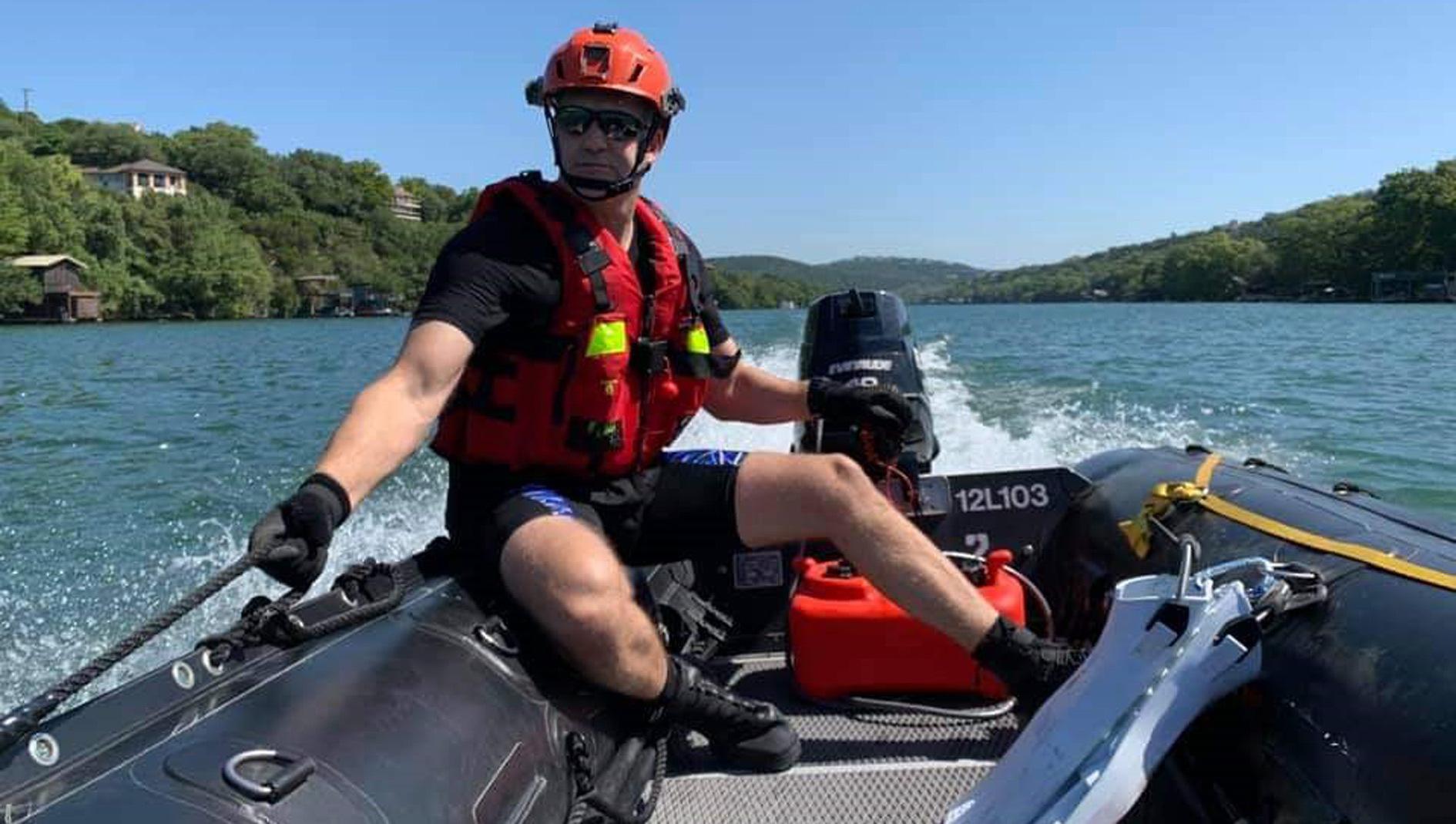 Jason Pickett on EMS duty riding in a boat.