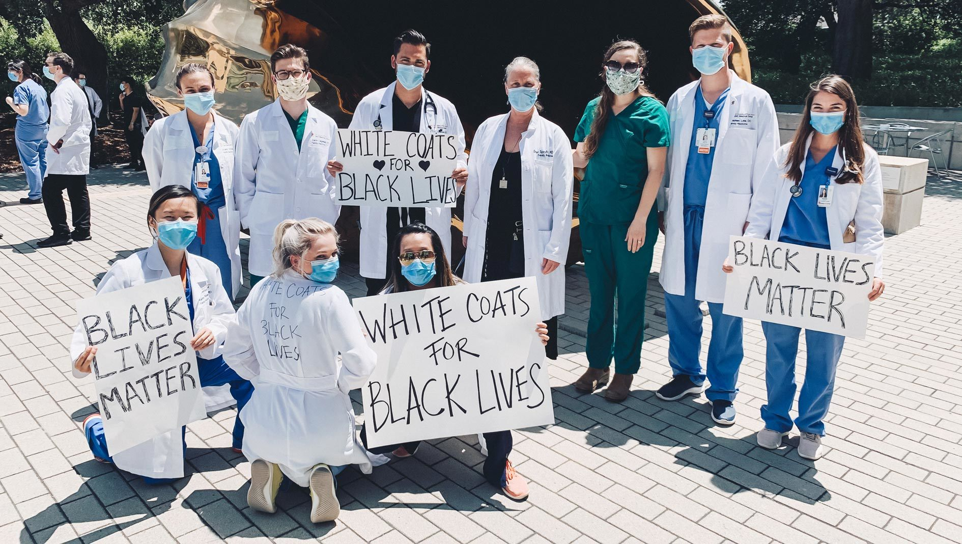 Family Medicine residents at a White Coats for Black Lives event.