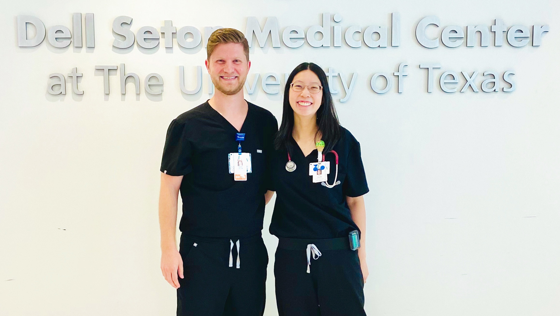 The two family medicine chief residents smiling at the camera.