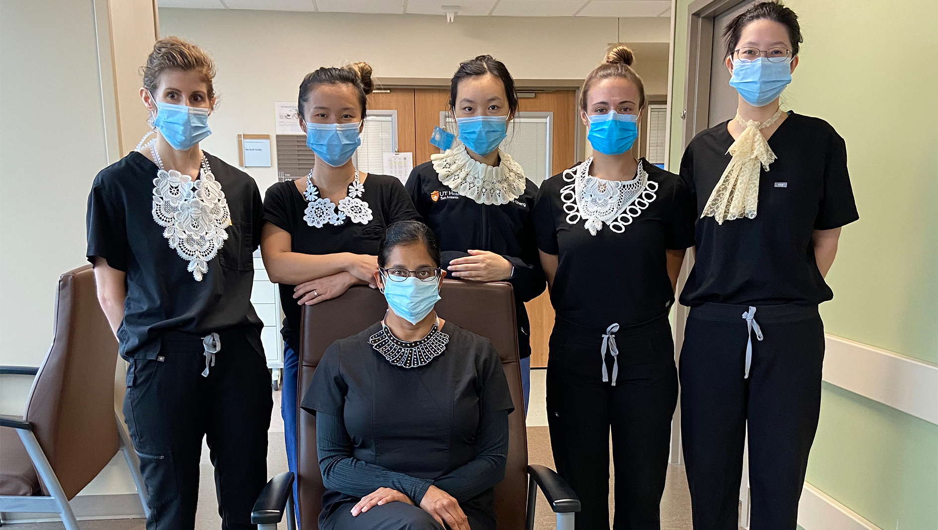 Six Family Medicine residents paying tribute to Ruth Bader Ginsberg.