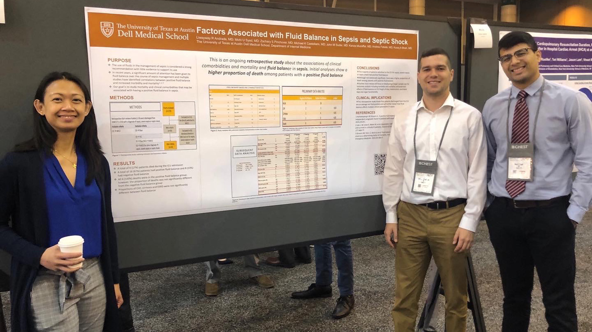 Three Internal Medicine residents presenting a poster at a conference.