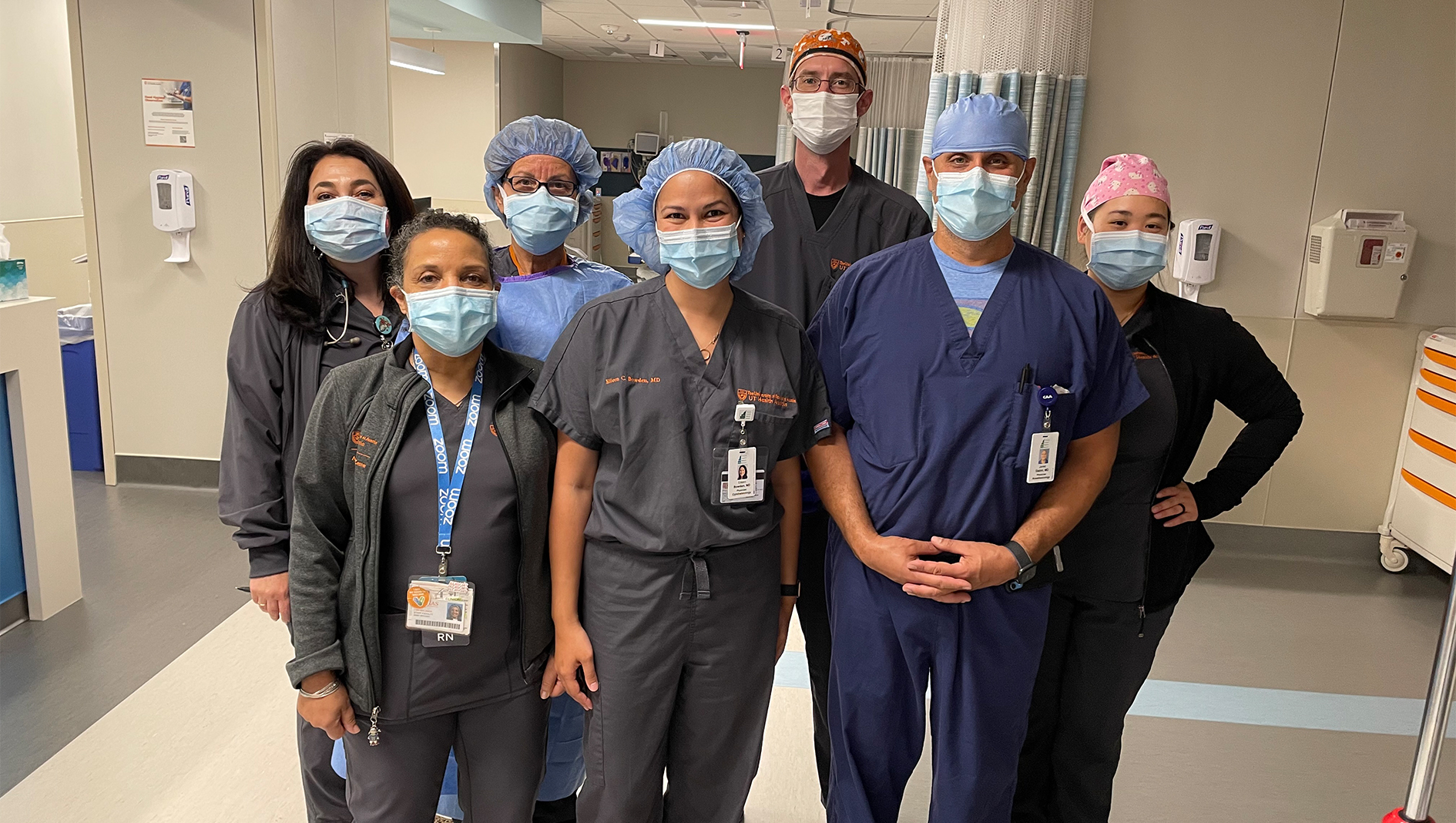 Seven members of the Ophthalmology Residency in a group photo.